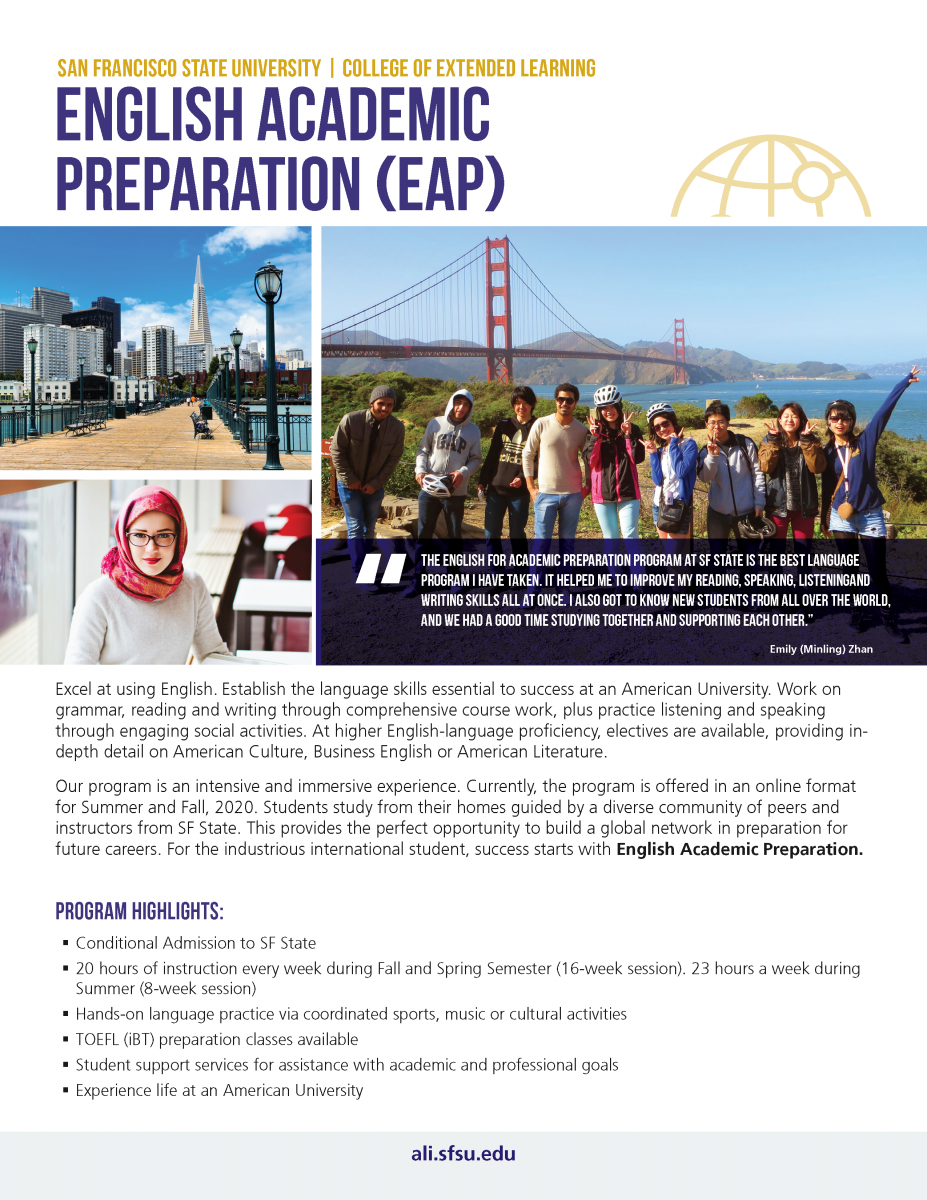 English for Academic Preparation Brochure