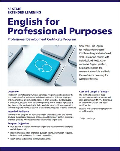 English for Professional Purposes Brochure (Portable Document Format)