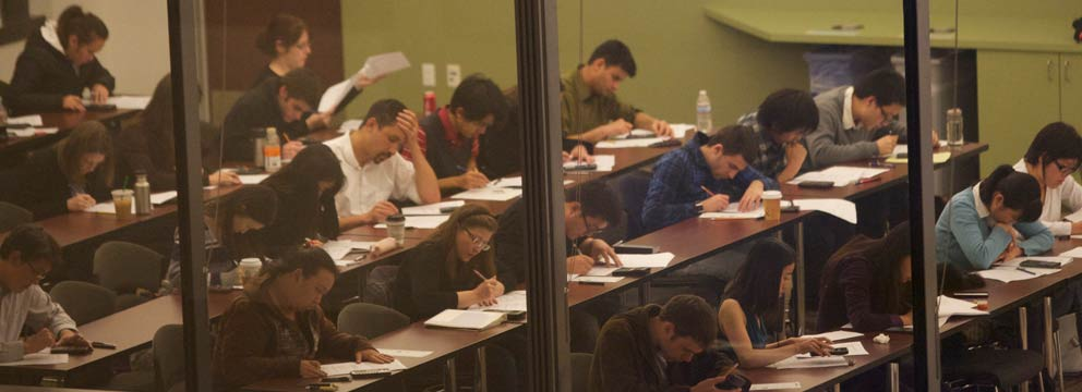 Students taking a test during test prep class.