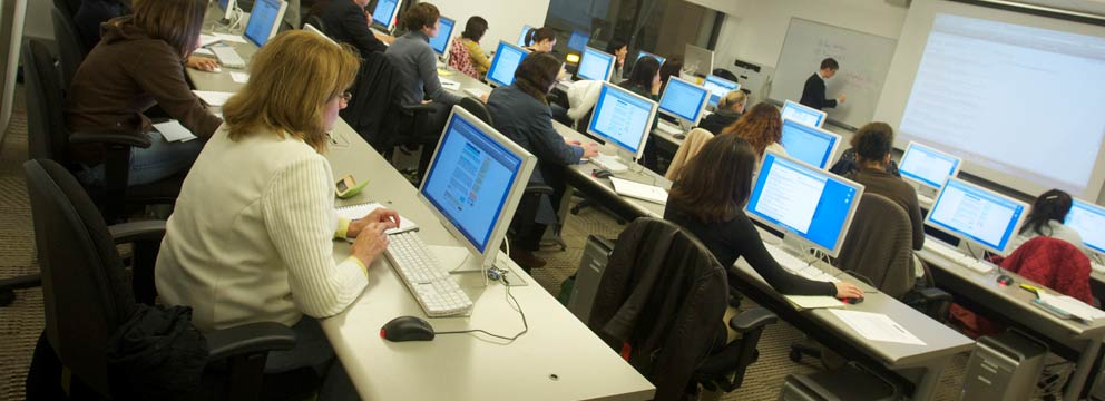 Customized Training students in a computer lab