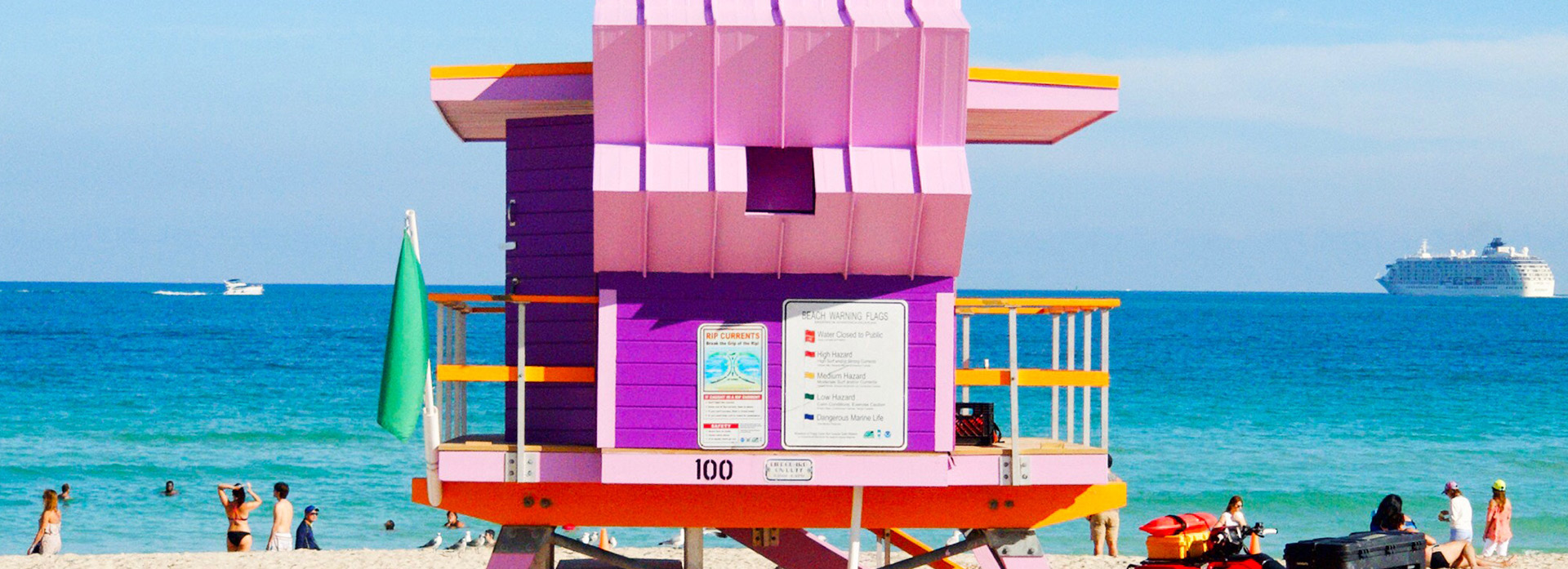 Pink lifeguard station in Miami