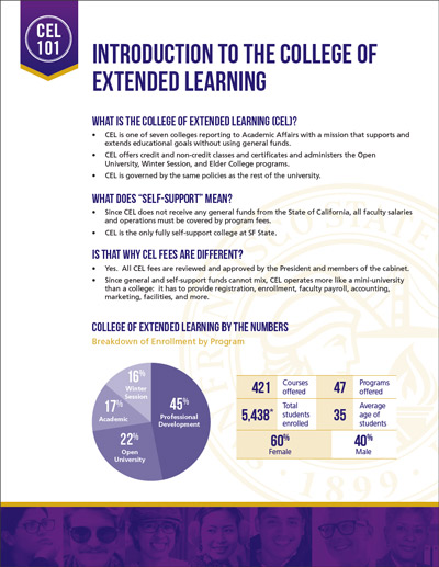 College of Extended Learning 101 - Fact Sheet