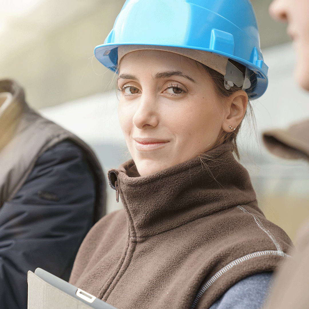Woman in a hard hat