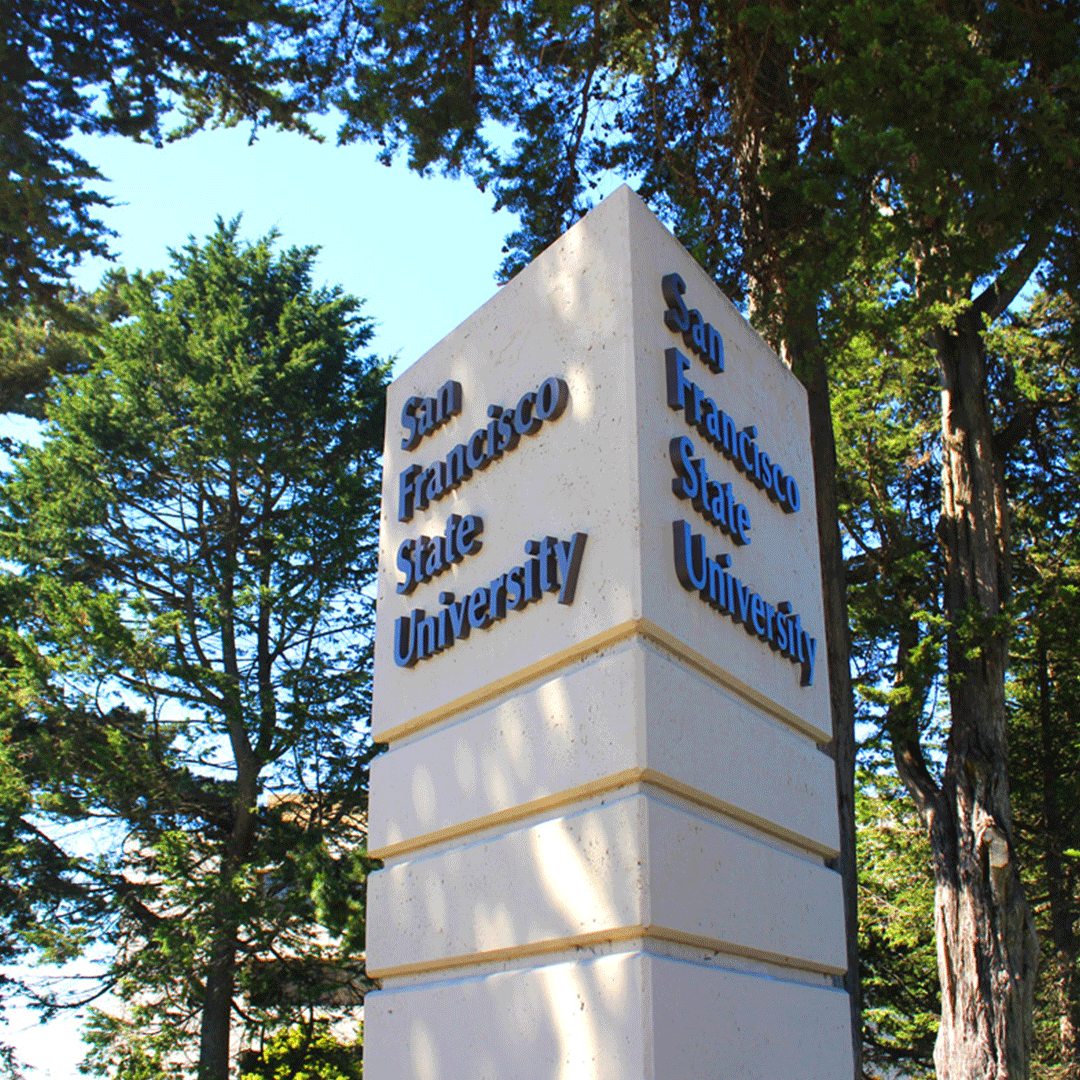San Francisco State University sign with trees