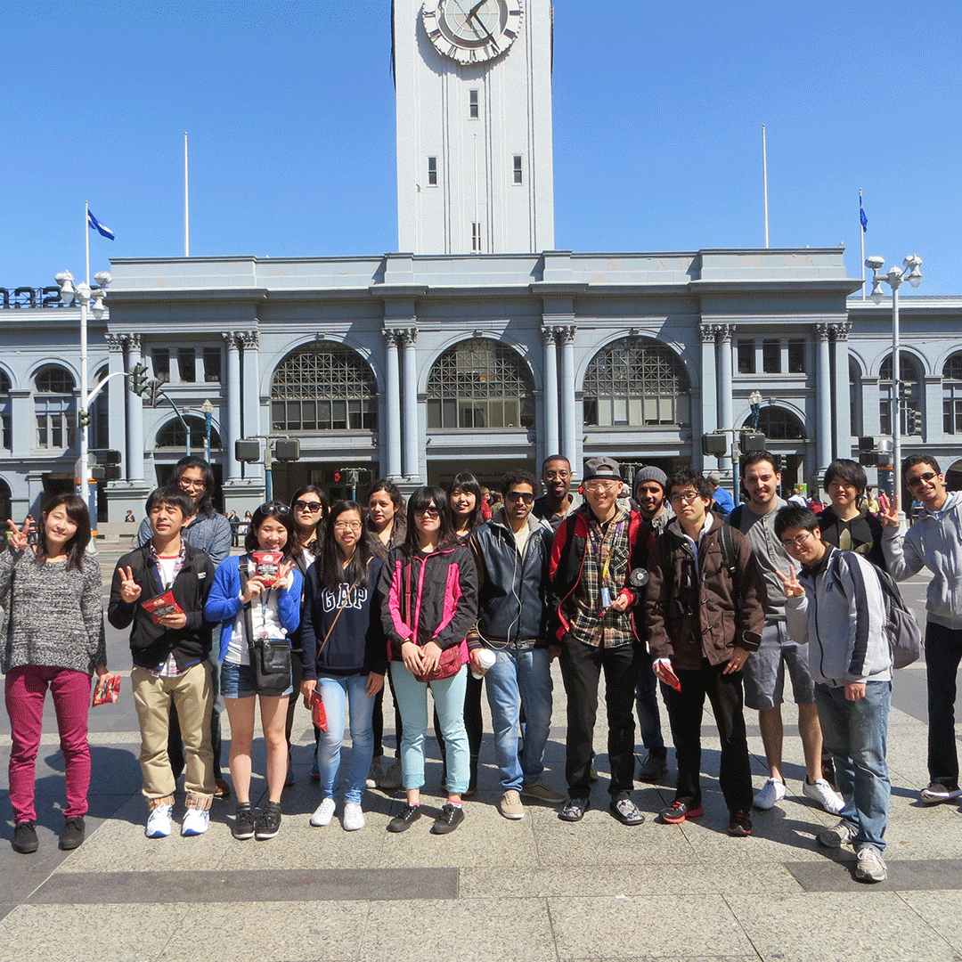 International students at the Ferry Building