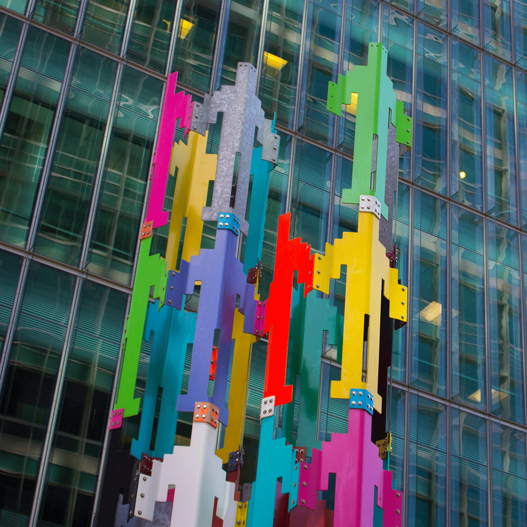 Colorful sculpture of people