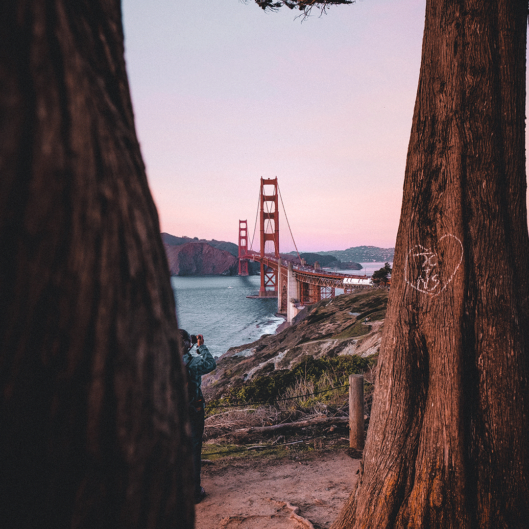 San Francisco's Golden Gate Bridge as sunset starts