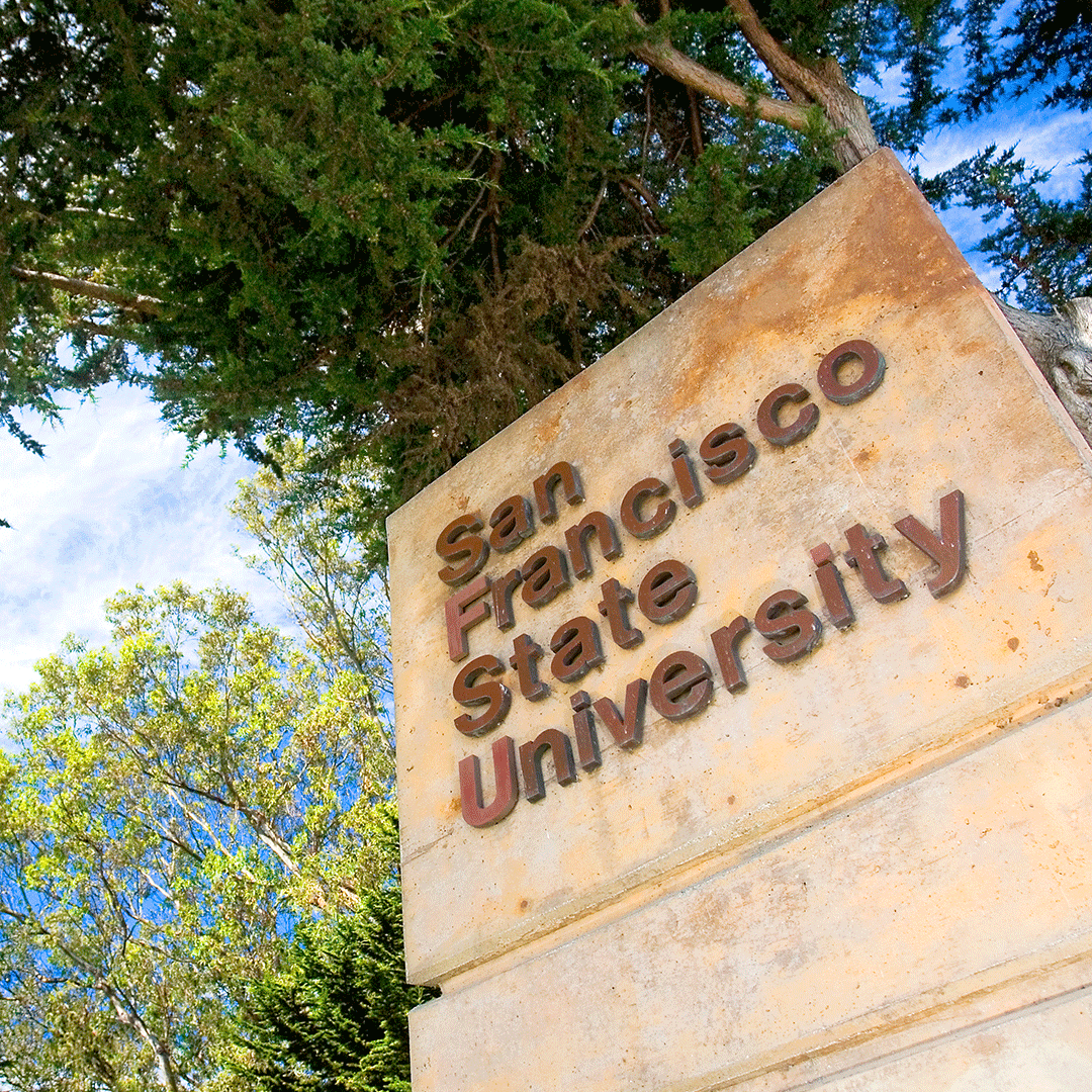 San Francisco State University sign and trees