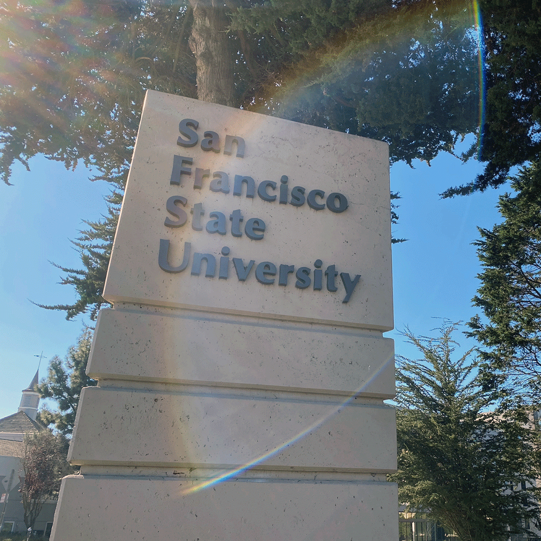 Rainbow lens flare on the SF State sign